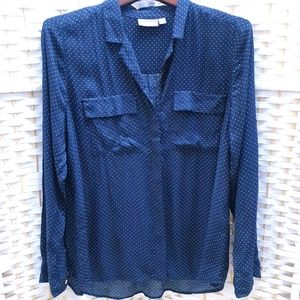 Sussan Size 16 Polka Dot Button-Up Blouse